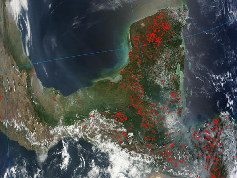 satellite image of Central America showing fires