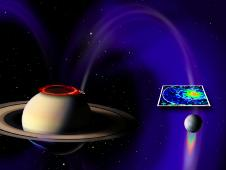 Artist concept of electrical circuit between Saturn and Enceladus