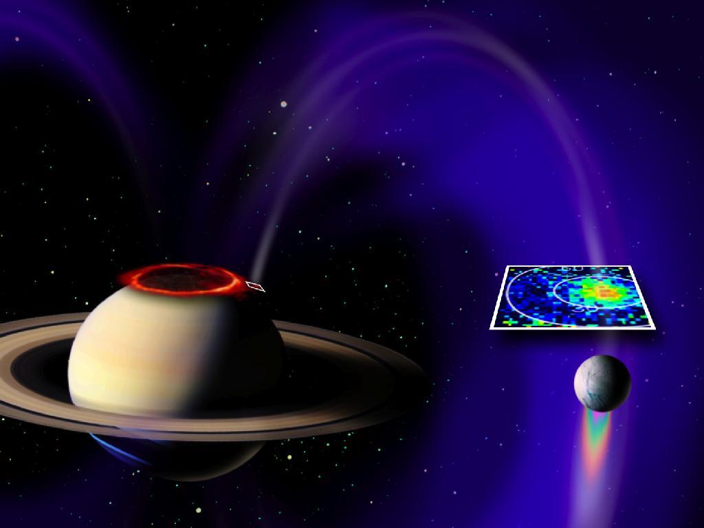 Saturn South Pole Saturn and Enceladus