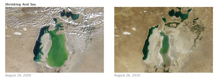 MODIS shows the Aral Sea shrinking