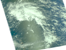 Aqua passed over the Atlantic low on April and captured this visible image of the comma shaped system.