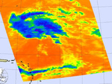 In this infrared image, the small purple areas indicate very high cloud tops and strong thunderstorms (and strong convection).