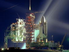 Columbia stands on the launch pad for STS-1.