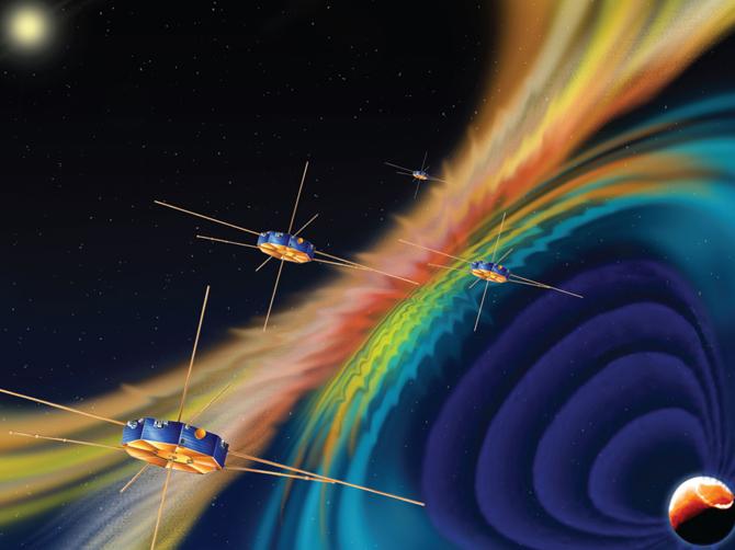 Artist rendition of MMS spacecraft.