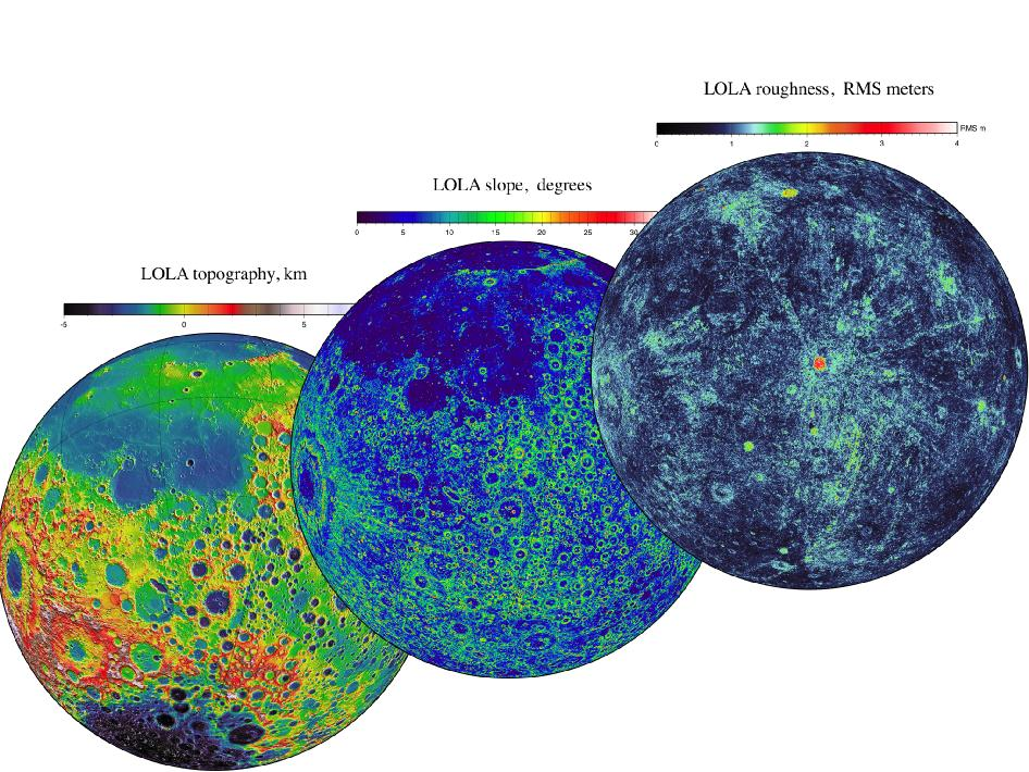 LOLA topography images of the moon