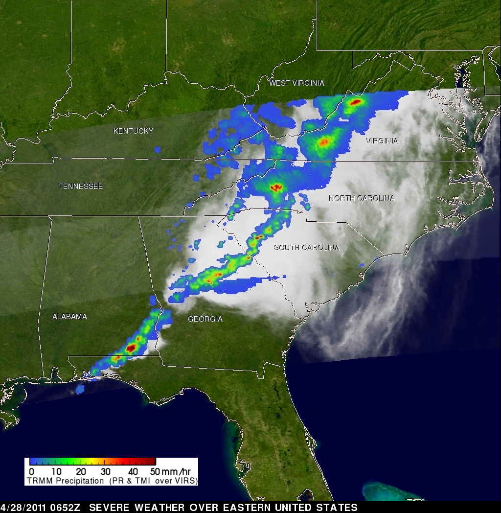 NASA - TRMM Satellite Sees Massive Thunderstorms in Severe Weather ...