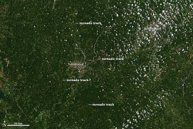 In an image acquired by MODIS on NASA's Aqua satellite on April 28, three tornado tracks are visible through and around the city.