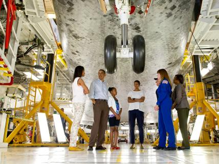 First Family Views Shuttle Atlantis