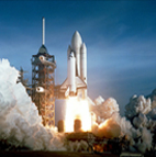 NASA shuttle launching into space