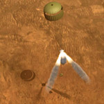 Simulation of retro rockets in backshell firing seconds before Mars Exploration Rover lands on Mars.