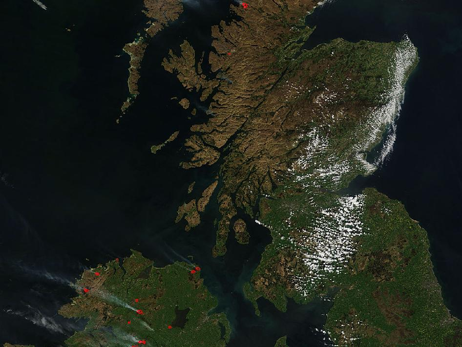 Dry weather conditions sparked fires to burn in parts of England, Scotland and northern Ireland