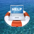 Laptop computer with the word help rest on life buoy