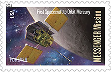 The Messenger spacecraft on stamp