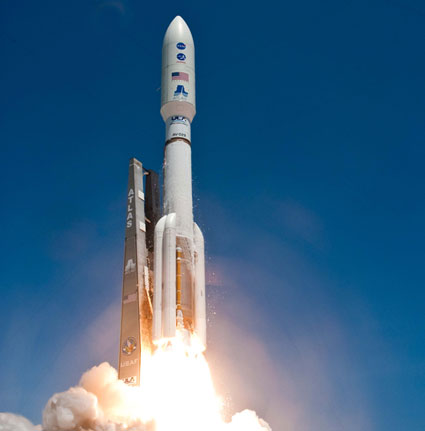 The Atlas V carrying Juno lifts off.