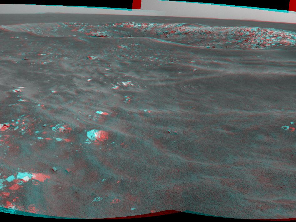 Stereo view of a Mars crater informally named