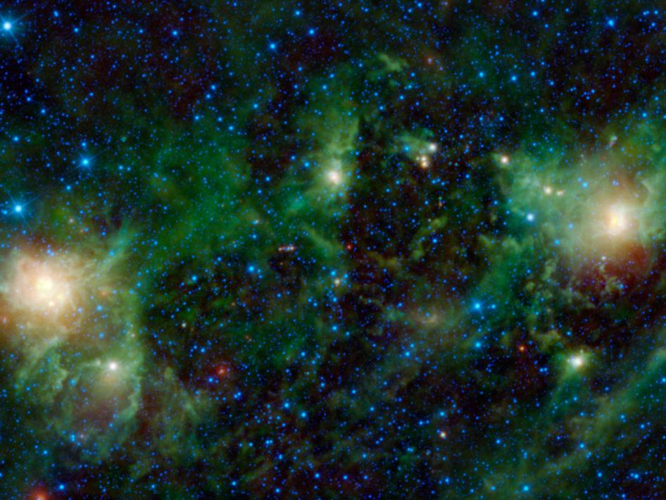 NASA's Wide-field Infrared Survey Explorer, or WISE, shows three different nebulae located in the constellation of Perseus