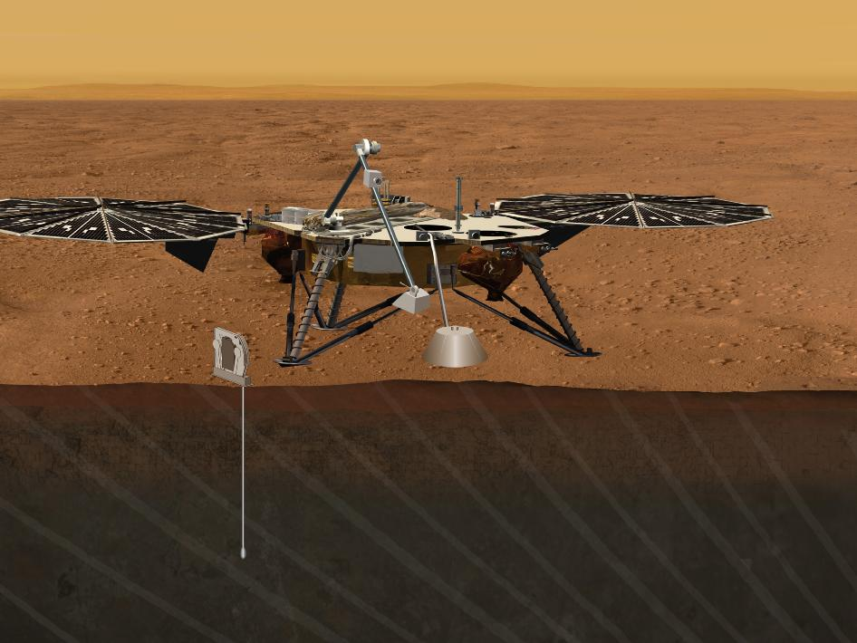 Artist's concept portrays the proposed Geophysical Monitoring Station mission