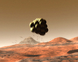 Artistic rending of airbags bouncing on Mars