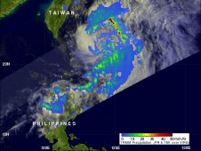 This image of rainfall from NASA's TRMM satellite on May 10 shows Aere is east of Taiwan in the Northwestern Pacific.