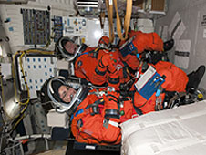 The STS-134 crew on the middeck.