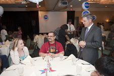 Kennedy Director Bob Cabana talks to NASA Explorer School students