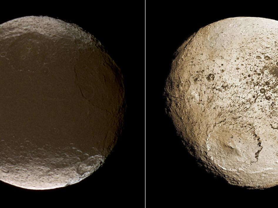 These two global images of Iapetus show the extreme brightness dichotomy on the surface of this peculiar Saturnian moon.