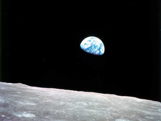 Earth rise from space, Apollo 8