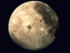 The moon as captured by the Galileo spacecraft on Dec. 9, 1990, at a range of about 350,000 miles.