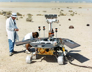 JPL engineers prepare a prototype MER rover for action.