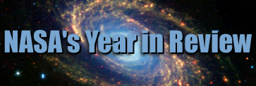 NASA's Year in Review with the image of the Spiral Galaxy taken by the Spitzer Space Telescope in the background.