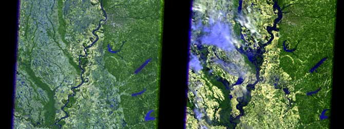 Composite showing the difference in the Mississippi River around Memphis in 2006 and in 2011 as seen by Landsat.