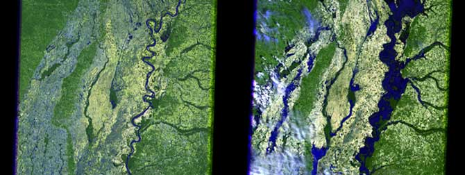 Composite showing the difference in the Mississippi River around Arkansas in 2006 and in 2011 as seen by Landsat.
