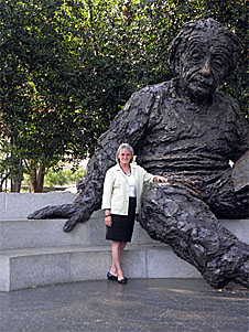 Geraldine Robbins with statue of Einstein