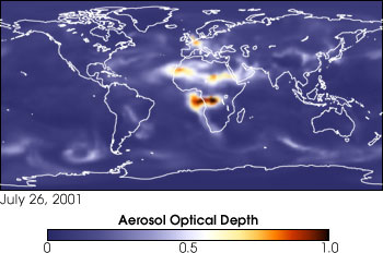 Model data of Aerosols July 26, 2001