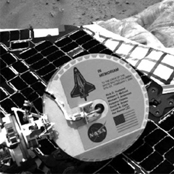 Columbia memorial plaque on Mars