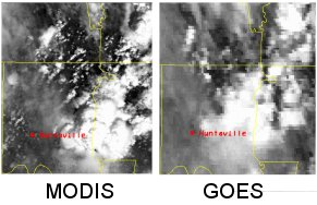 A side-by-side comparison of MODIS and GOES images taken over the same area, a four county region in Alabama, on the same day. The MODIS image is much sharper.