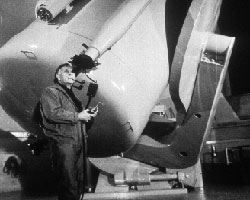 Edwin Hubble with his 200 inch telescope