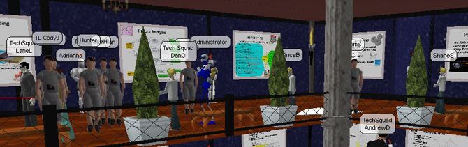 The top five teams of students present their work InWorld to a forum of judges and other observers.