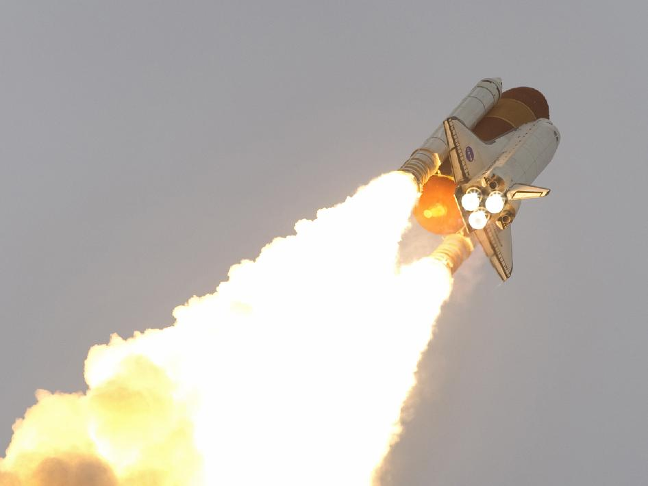 Space shuttle Endeavour races into space after liftoff