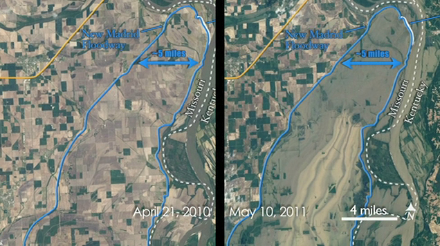 Side-by-side view of the Mississippi River, before and after the recent flooding.