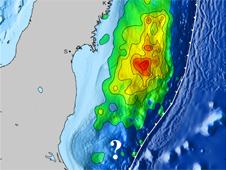 Image of the estimated fault slip due to the 9.0 Tohoku-Oki earthquake.