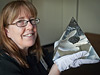 Debra Sea with Apollo 14 moon rock