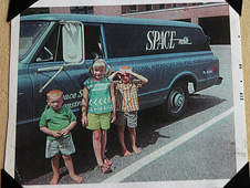 Debra Sea and her brothers beside their father's Spacemobile van