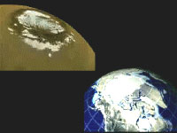 Polar caps on Mars and Earth