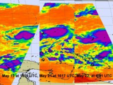 Three infrared images show the strengthening of Tropical Storm Songda over the period of May 19-22, 2011.