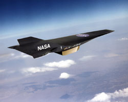 Artist conception of X-43A in flight.