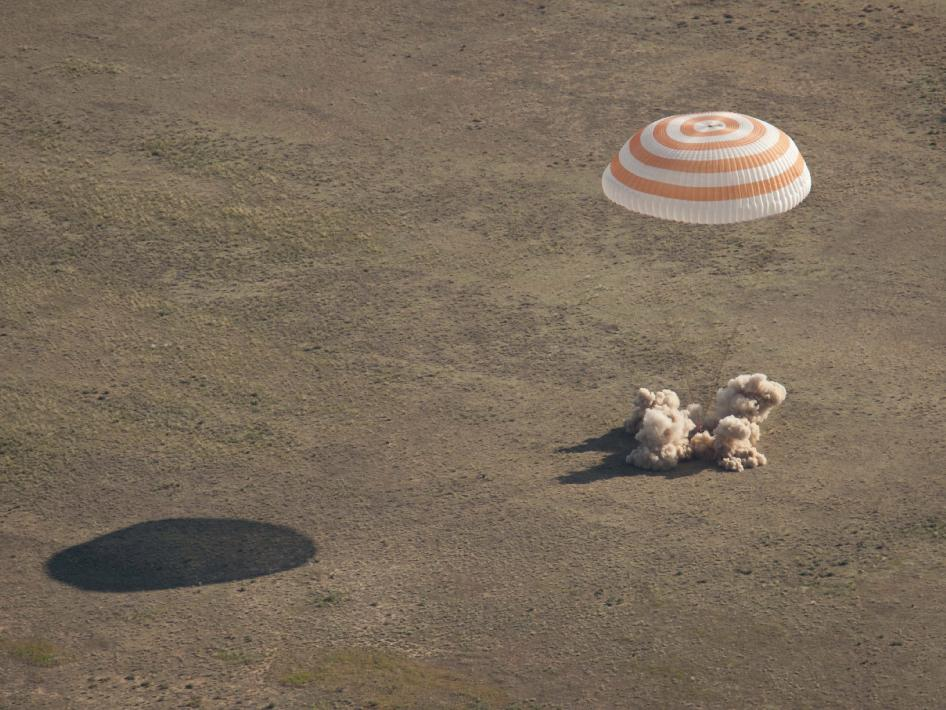 The Soyuz TMA-20 spacecraft is seen as it lands with Expedition 27 Commander Dmitry Kondratyev and Flight Engineers Paolo Nespoli and Cady Coleman in a remote area southeast of the town of Zhezkazgan, Kazakhstan, on Tuesday, May 24, 2011. NASA Astronaut Coleman, Russian Cosmonaut Kondratyev and Italian Astronaut Nespoli are returning from more than five months onboard the International Space Station where they served as members of the Expedition 26 and 27 crews.