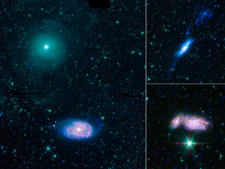 This montage shows three examples of colliding galaxies from a new photo atlas of galactic 'train wrecks.'