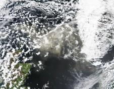 Natural color image of the North Sea and Grimsvotn plume