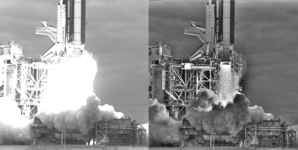 Comparison of a normal image of the STS-134 launch to a composite of six images with different exposure settings